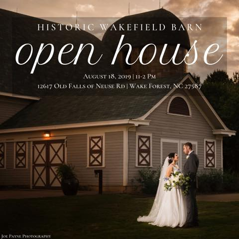 Join us on August 18, from 11am-2pm at the Historic Wakefield Barn Open House. We can't wait to meet with current & potential couples!